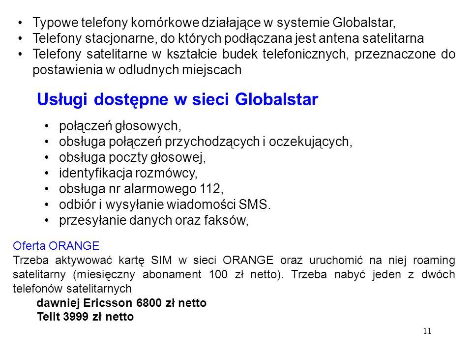 Usługi dostępne w sieci Globalstar