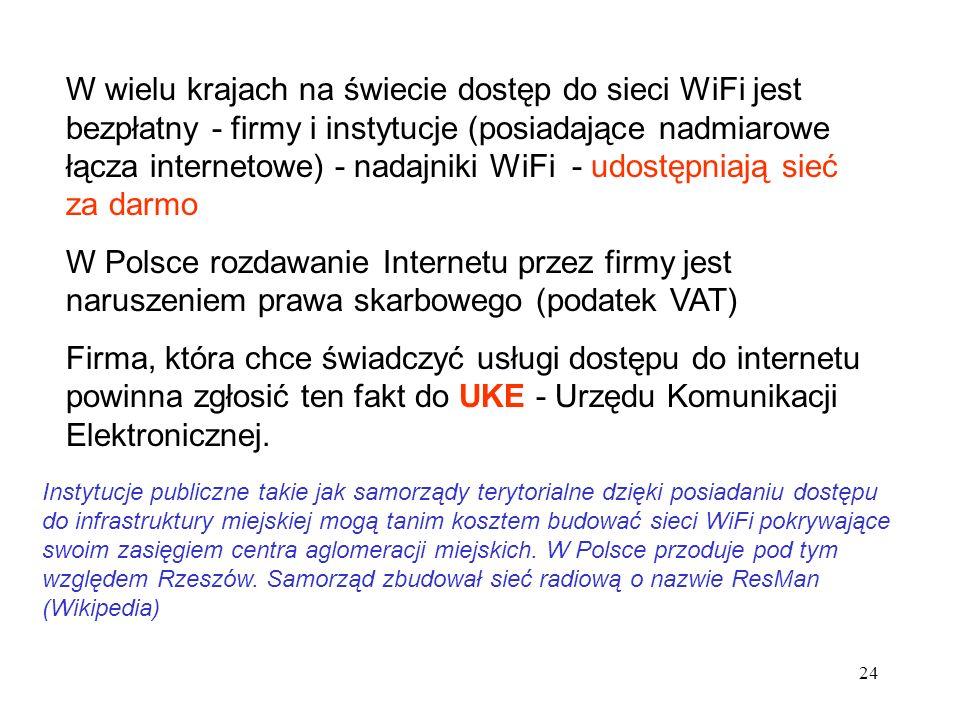 W wielu krajach na świecie dostęp do sieci WiFi jest bezpłatny - firmy i instytucje (posiadające nadmiarowe łącza internetowe) - nadajniki WiFi - udostępniają sieć za darmo