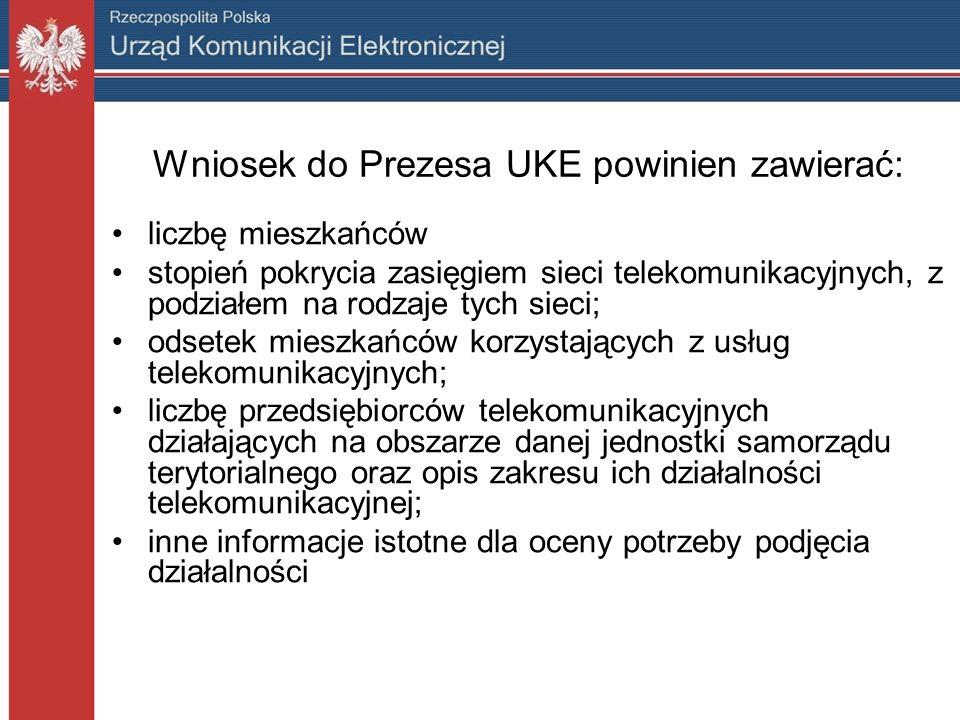 Wniosek do Prezesa UKE powinien zawierać: