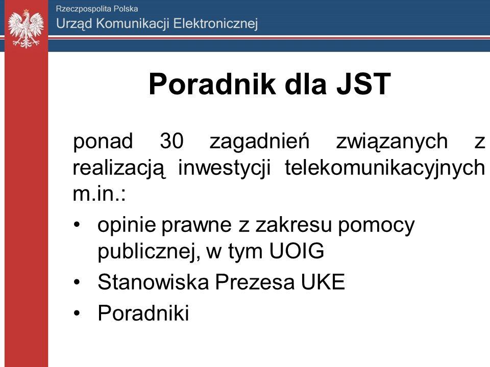 Poradnik dla JST ponad 30 zagadnień związanych z realizacją inwestycji telekomunikacyjnych m.in.: