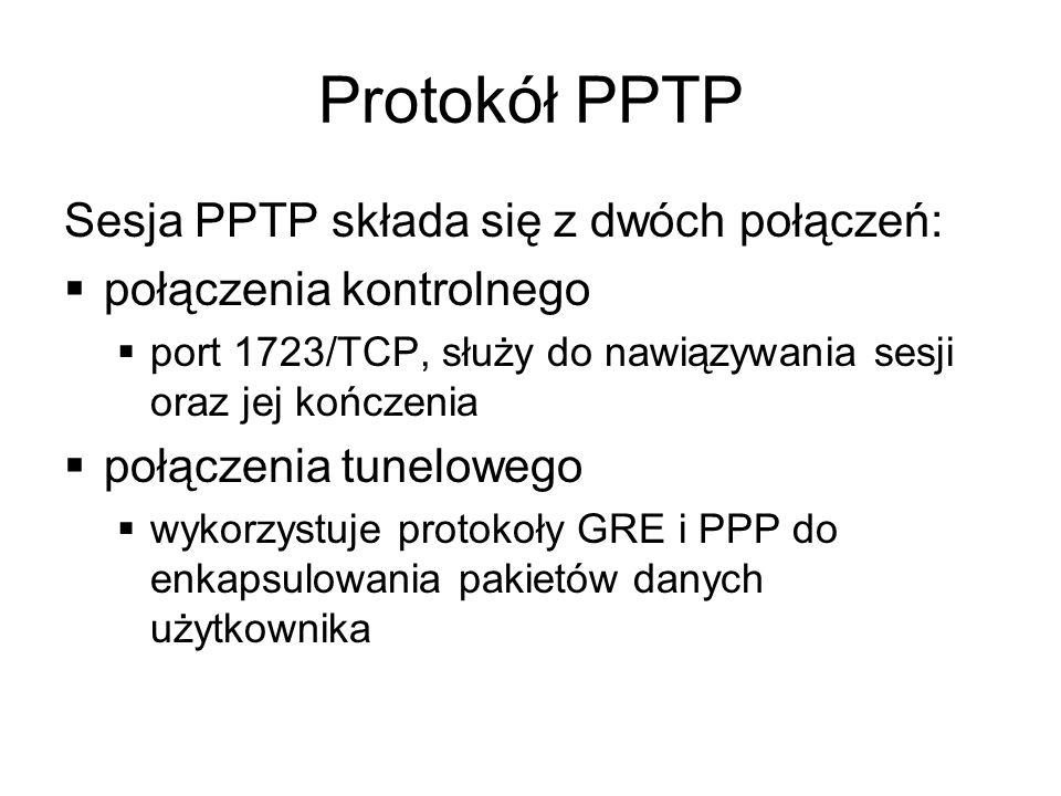 Protokół PPTP Sesja PPTP składa się z dwóch połączeń: