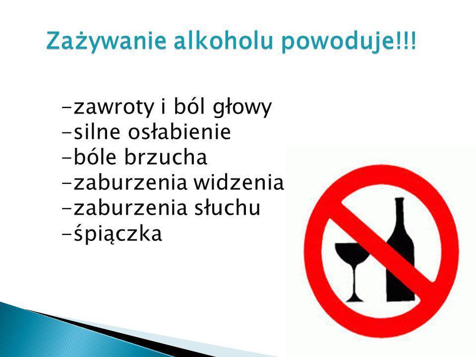 Zażywanie alkoholu powoduje!!!