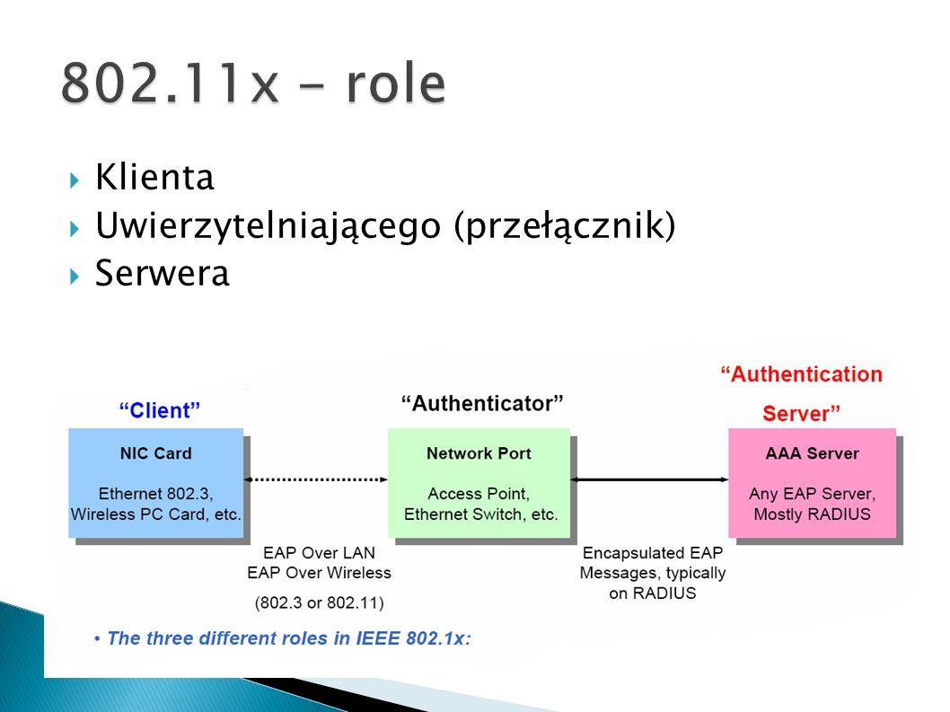 802.11x - role Klienta Uwierzytelniającego (przełącznik) Serwera