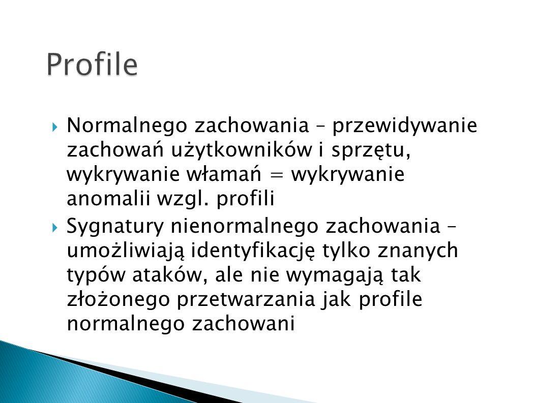 Profile Normalnego zachowania – przewidywanie zachowań użytkowników i sprzętu, wykrywanie włamań = wykrywanie anomalii wzgl. profili.