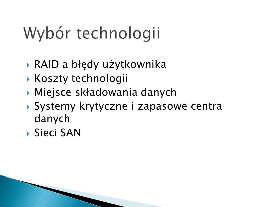 Wybór technologii RAID a błędy użytkownika Koszty technologii