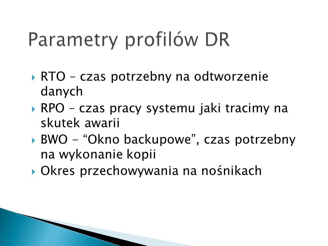 Parametry profilów DR RTO – czas potrzebny na odtworzenie danych