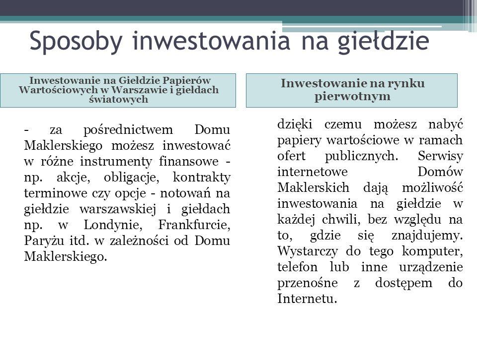 Sposoby inwestowania na giełdzie
