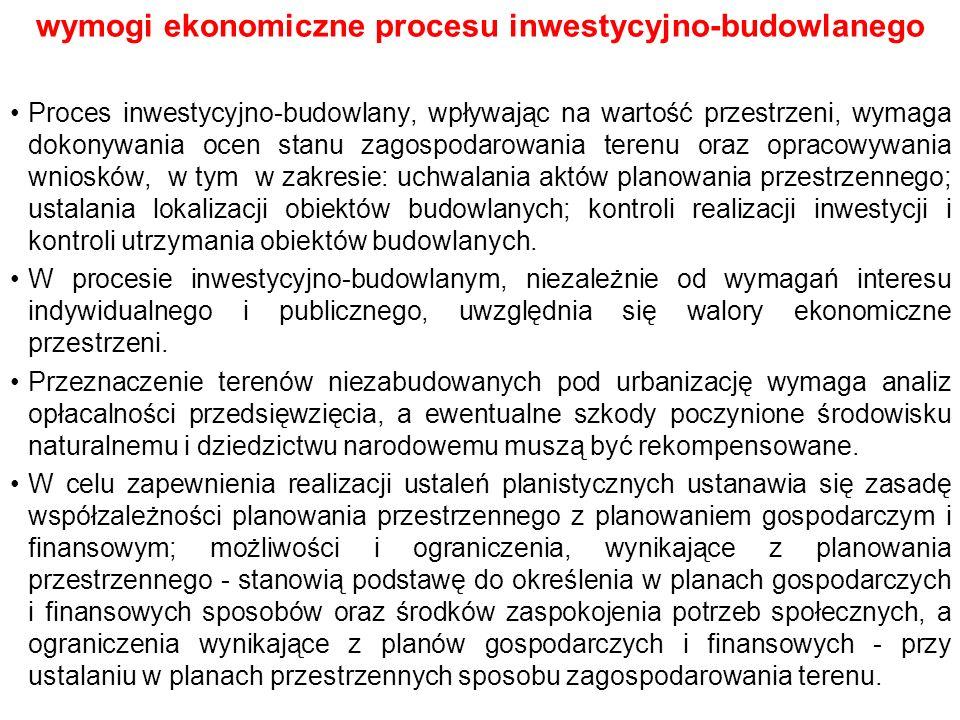 wymogi ekonomiczne procesu inwestycyjno-budowlanego