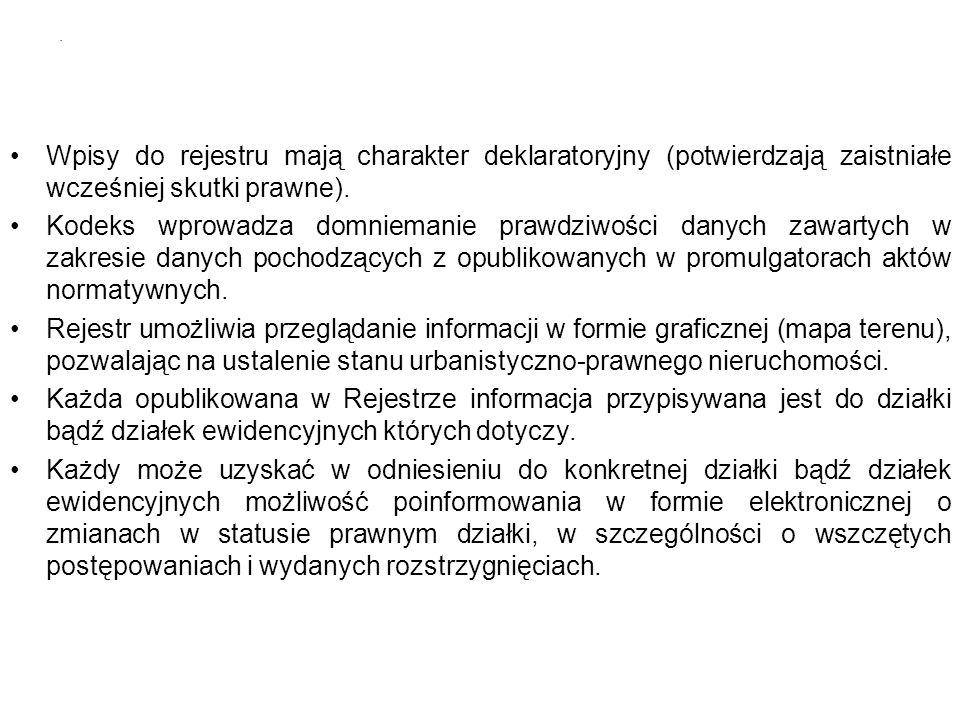 Wpisy do rejestru mają charakter deklaratoryjny (potwierdzają zaistniałe wcześniej skutki prawne).
