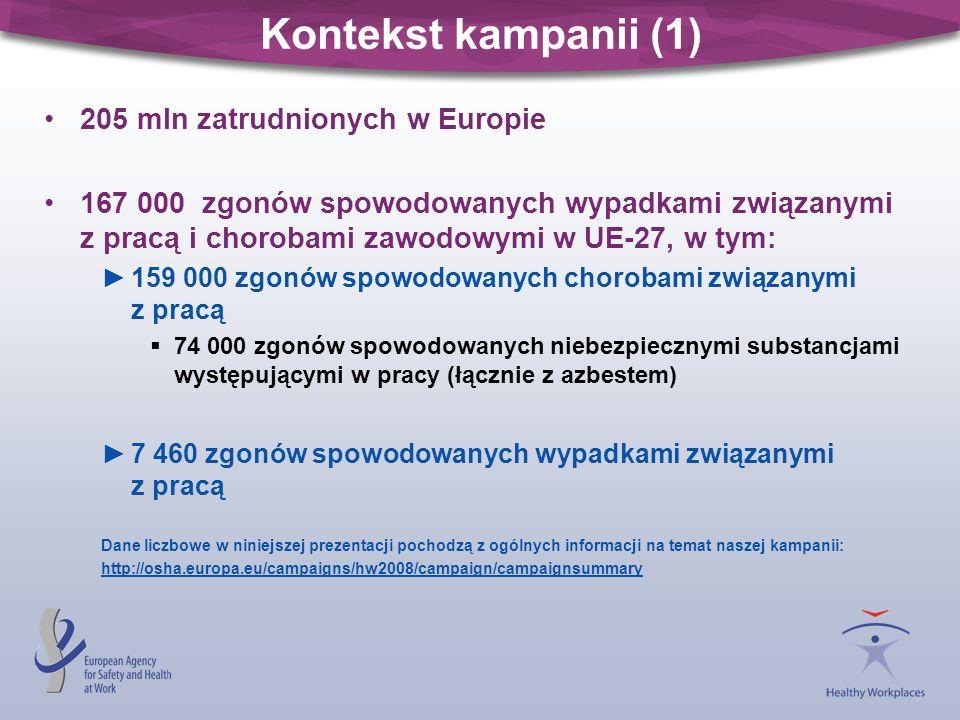 Kontekst kampanii (1) 205 mln zatrudnionych w Europie
