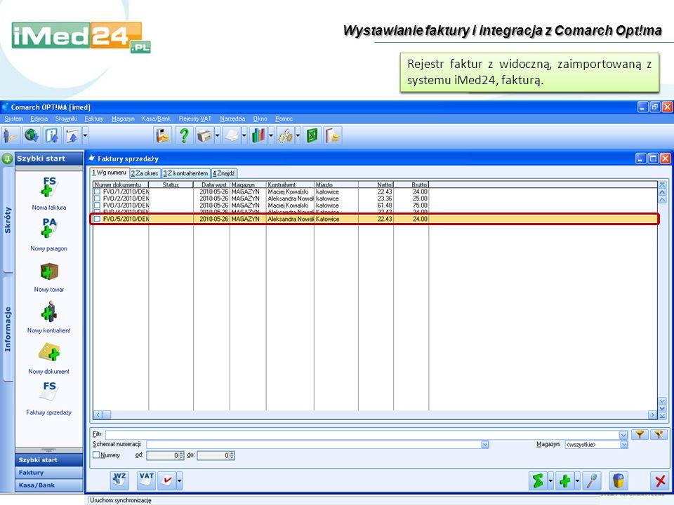Wystawianie faktury i integracja z Comarch Opt!ma