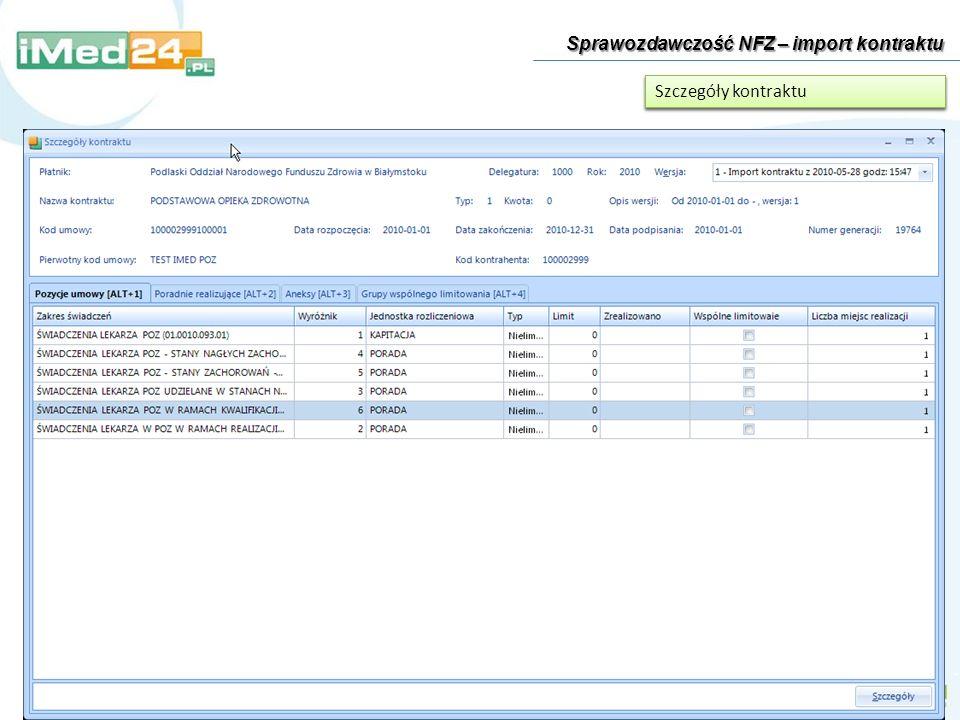 Sprawozdawczość NFZ – import kontraktu