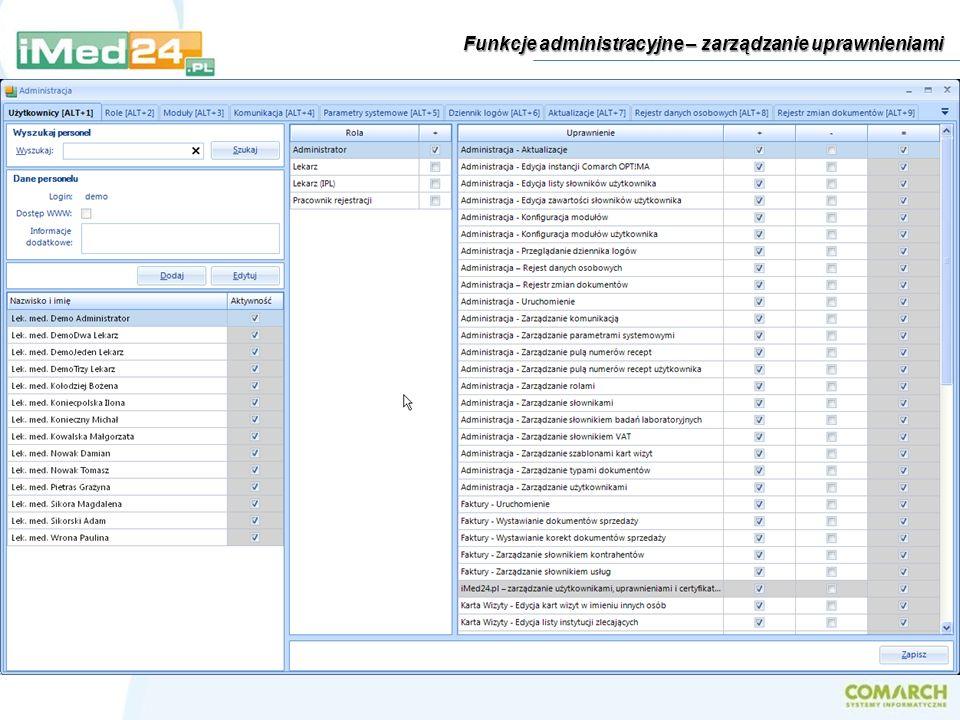 Funkcje administracyjne – zarządzanie uprawnieniami