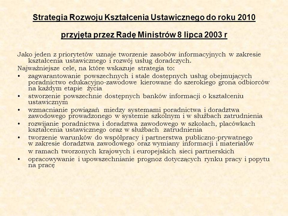 Strategia Rozwoju Kształcenia Ustawicznego do roku 2010 przyjęta przez Radę Ministrów 8 lipca 2003 r