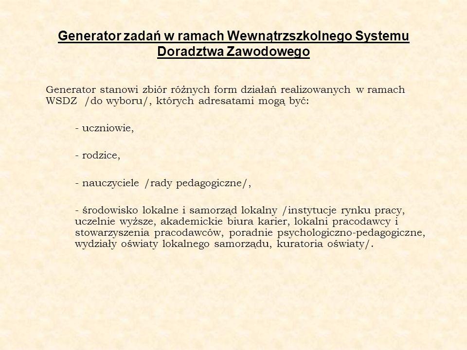 Generator zadań w ramach Wewnątrzszkolnego Systemu Doradztwa Zawodowego