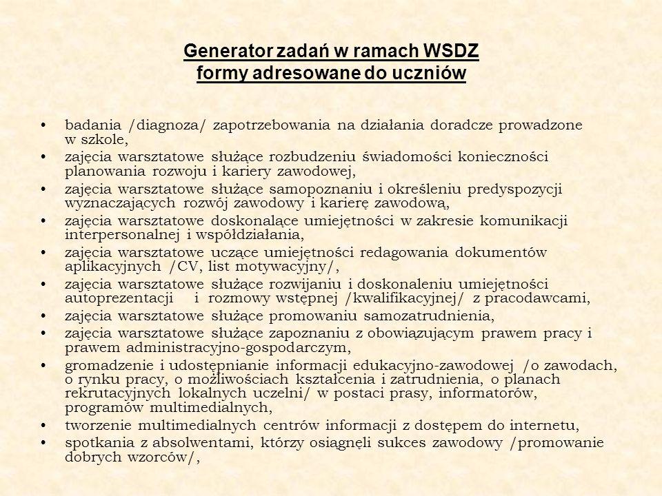 Generator zadań w ramach WSDZ formy adresowane do uczniów