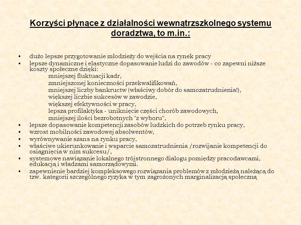 Korzyści płynące z działalności wewnątrzszkolnego systemu doradztwa, to m.in.: