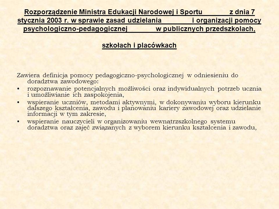 Rozporządzenie Ministra Edukacji Narodowej i Sportu z dnia 7 stycznia 2003 r. w sprawie zasad udzielania i organizacji pomocy psychologiczno-pedagogicznej w publicznych przedszkolach, szkołach i placówkach