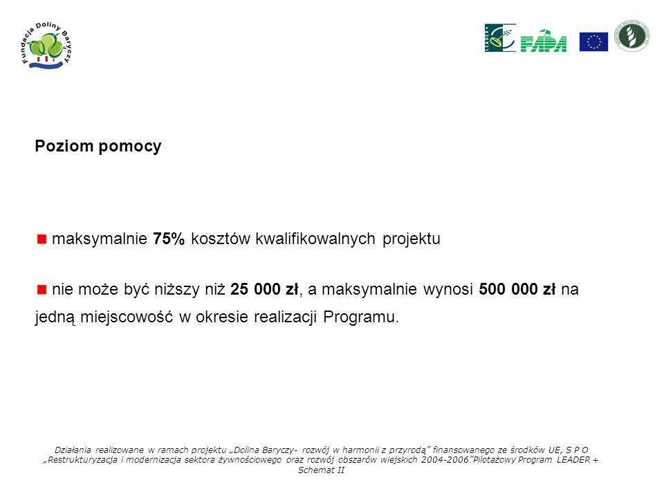 maksymalnie 75% kosztów kwalifikowalnych projektu