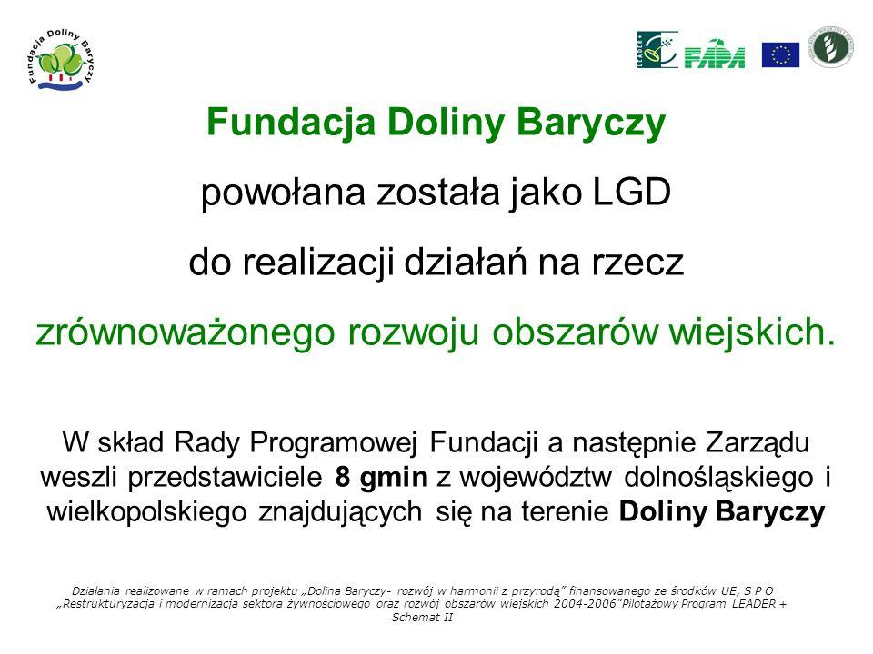 Fundacja Doliny Baryczy powołana została jako LGD