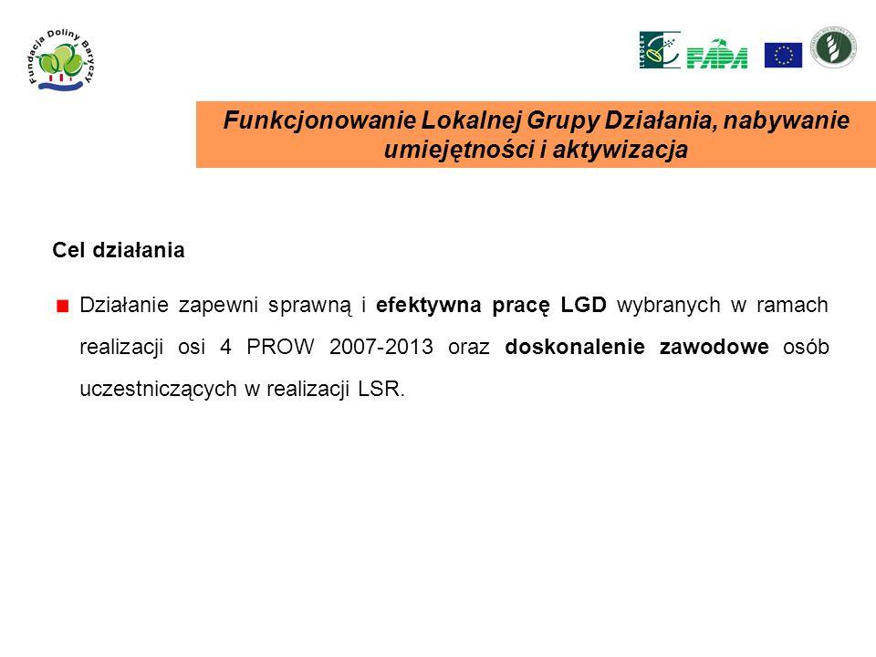 Funkcjonowanie Lokalnej Grupy Działania, nabywanie umiejętności i aktywizacja