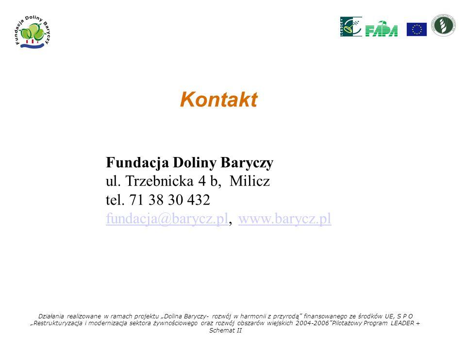 Kontakt Fundacja Doliny Baryczy ul. Trzebnicka 4 b, Milicz