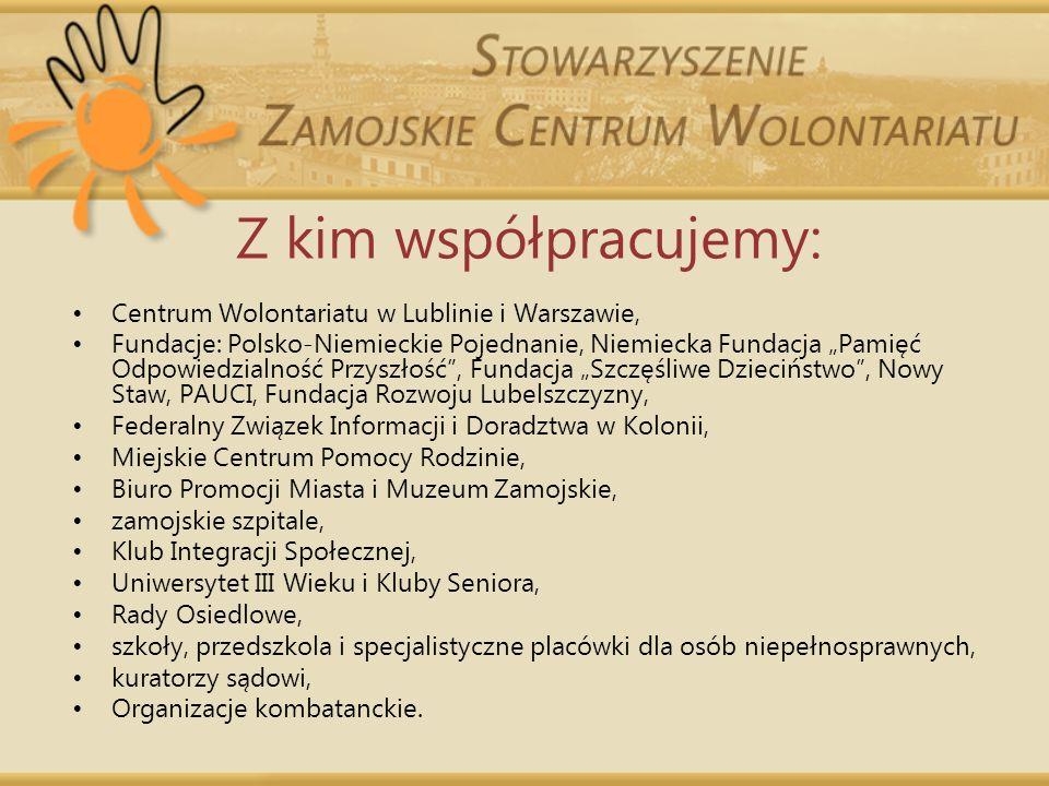 Z kim współpracujemy: Centrum Wolontariatu w Lublinie i Warszawie,
