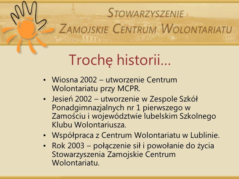 Trochę historii… Wiosna 2002 – utworzenie Centrum Wolontariatu przy MCPR.
