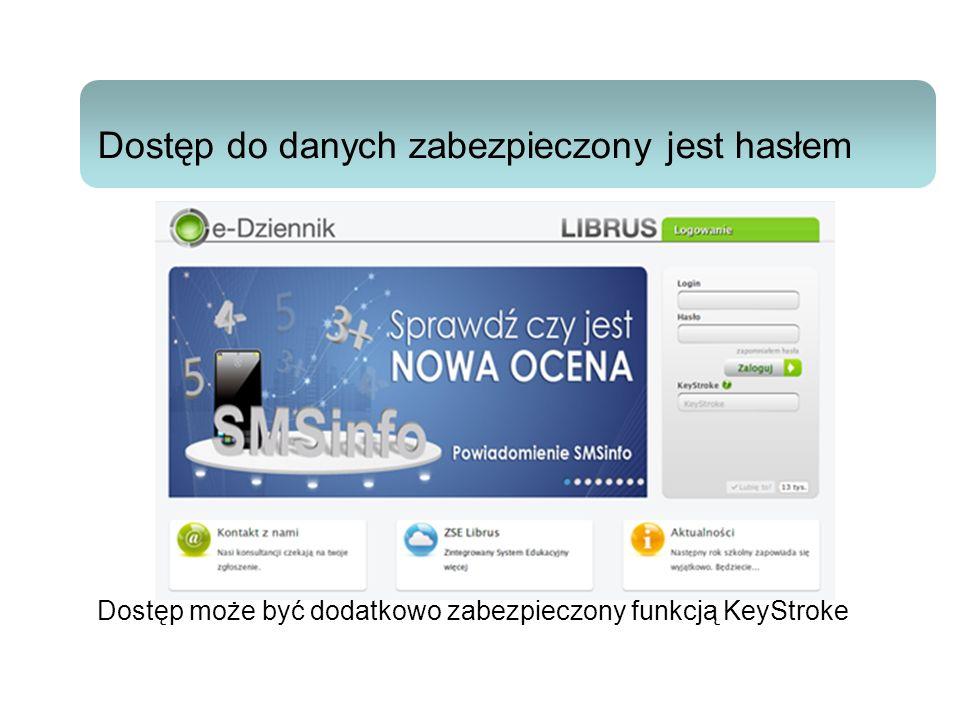 1212 Dostęp do danych zabezpieczony jest hasłem Dostęp może być dodatkowo zabezpieczony funkcją KeyStroke.