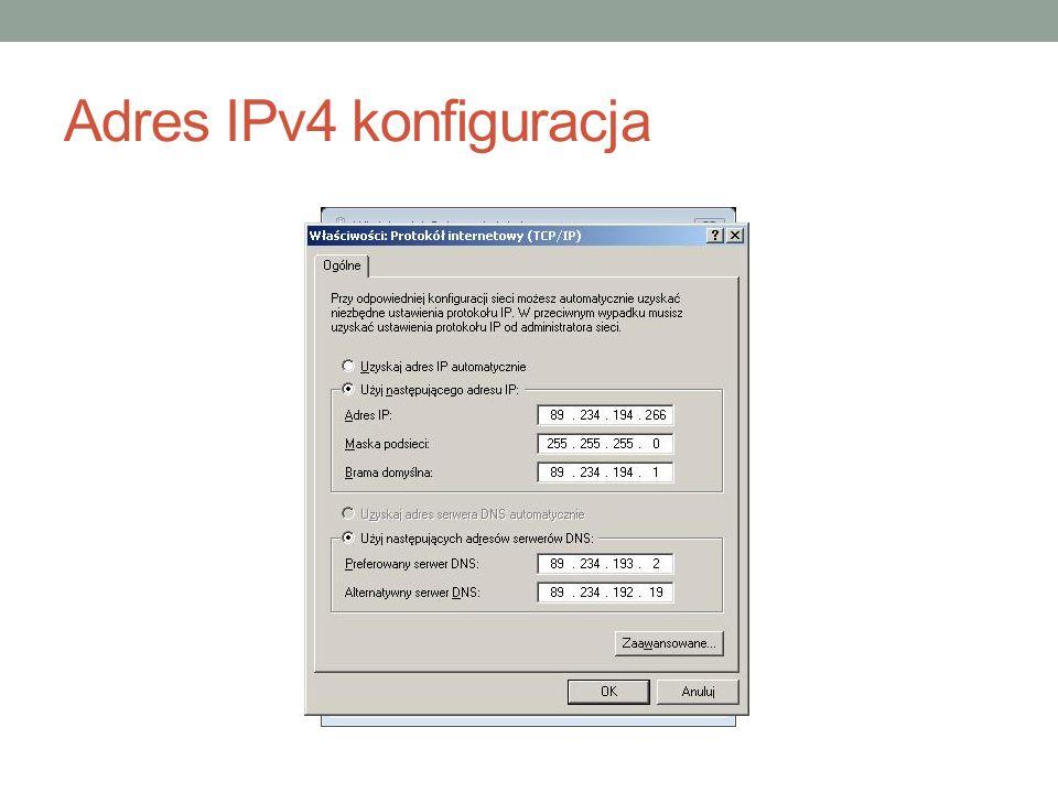 Adres IPv4 konfiguracja