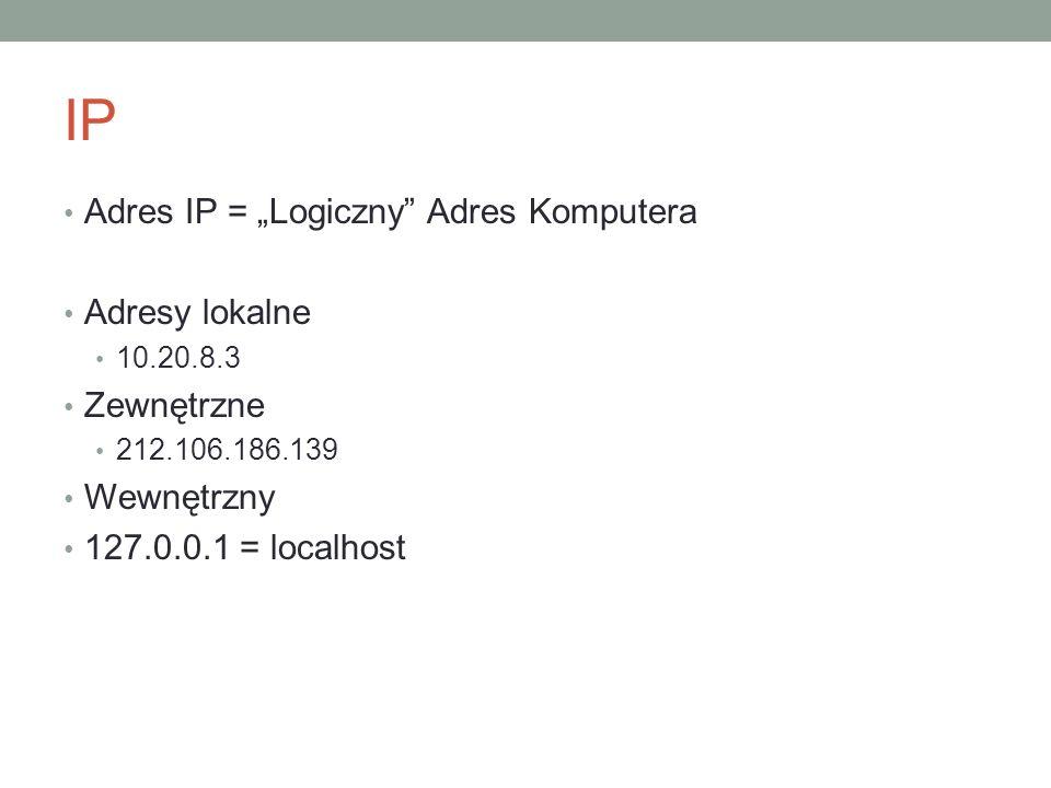 """IP Adres IP = """"Logiczny Adres Komputera Adresy lokalne Zewnętrzne"""