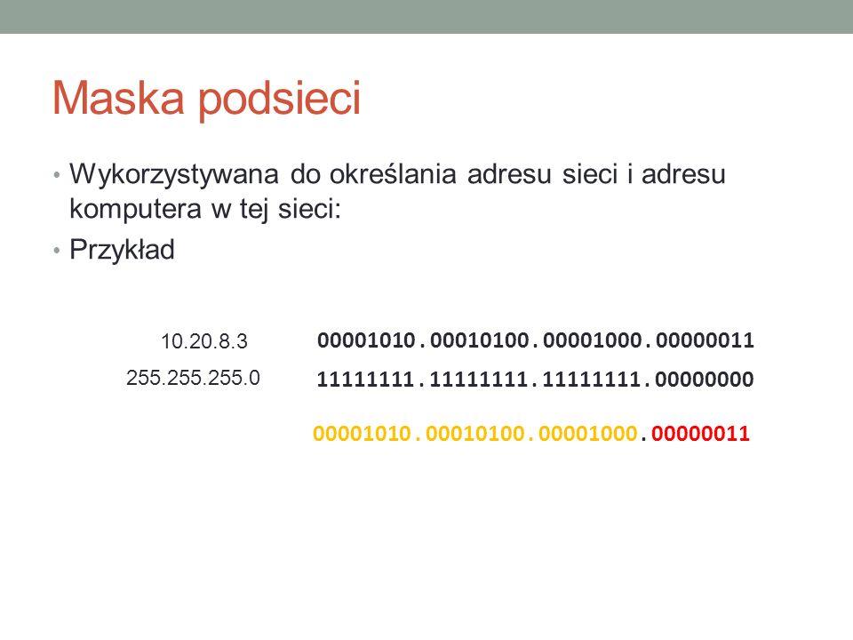 Maska podsieci Wykorzystywana do określania adresu sieci i adresu komputera w tej sieci: Przykład.
