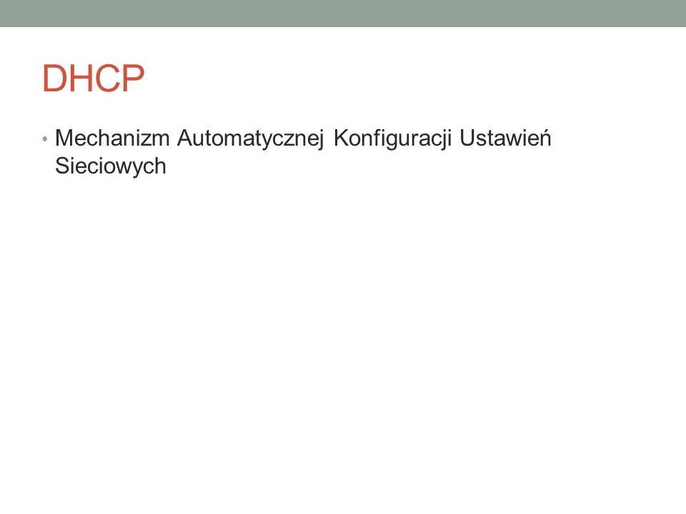 DHCP Mechanizm Automatycznej Konfiguracji Ustawień Sieciowych