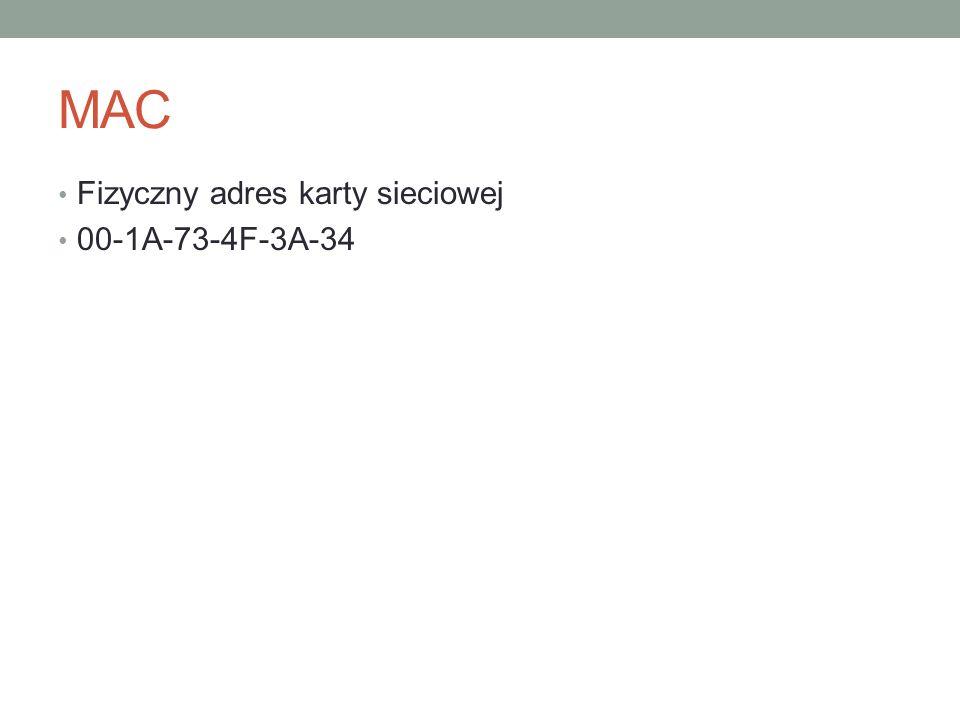 MAC Fizyczny adres karty sieciowej 00-1A-73-4F-3A-34