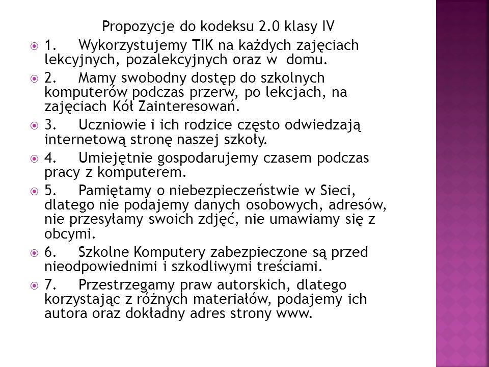 Propozycje do kodeksu 2.0 klasy IV