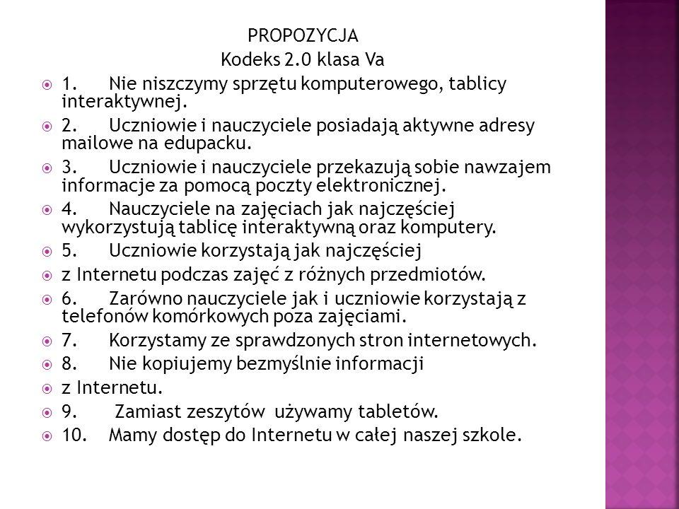 PROPOZYCJA Kodeks 2.0 klasa Va. 1. Nie niszczymy sprzętu komputerowego, tablicy interaktywnej.