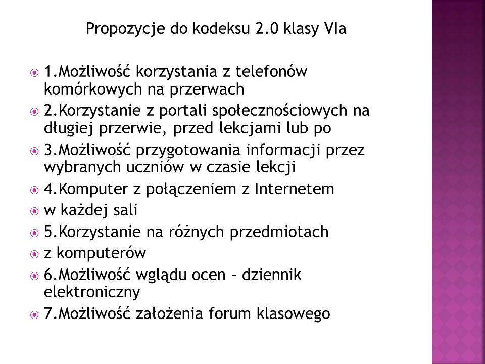 Propozycje do kodeksu 2.0 klasy VIa
