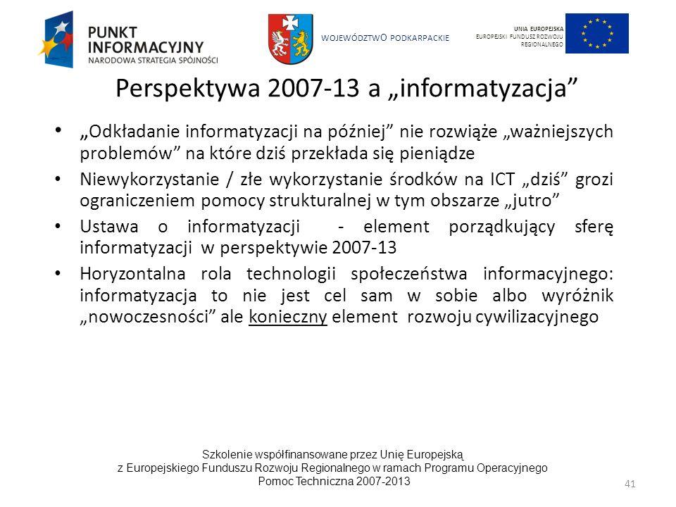 """Perspektywa 2007-13 a """"informatyzacja"""