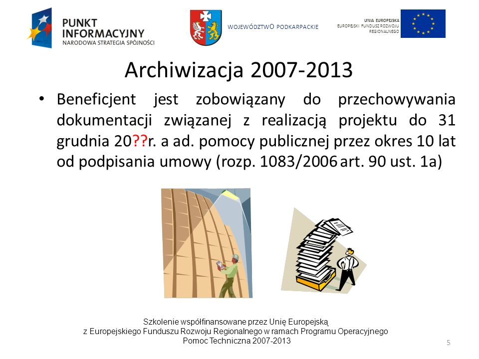 UNIA EUROPEJSKA EUROPEJSKI FUNDUSZ ROZWOJU REGIONALNEGO. Archiwizacja 2007-2013.