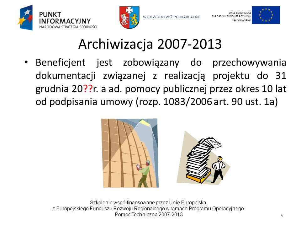 UNIA EUROPEJSKAEUROPEJSKI FUNDUSZ ROZWOJU REGIONALNEGO. Archiwizacja 2007-2013.