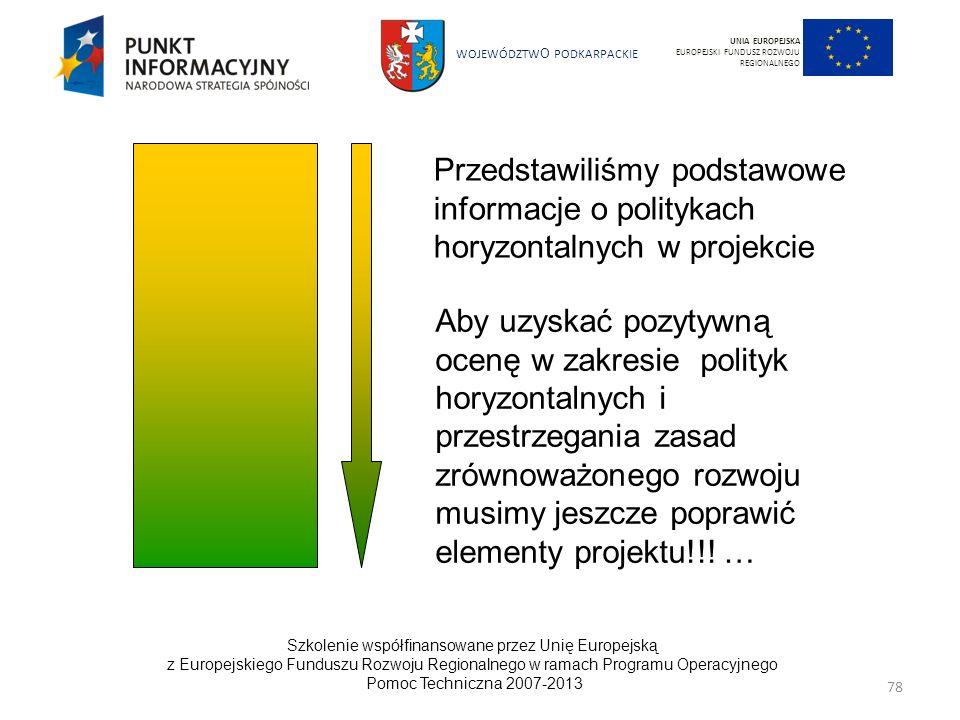 UNIA EUROPEJSKA EUROPEJSKI FUNDUSZ ROZWOJU REGIONALNEGO. Przedstawiliśmy podstawowe informacje o politykach horyzontalnych w projekcie.