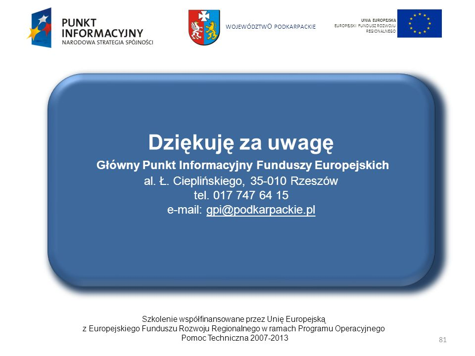 Dziękuję za uwagę Główny Punkt Informacyjny Funduszy Europejskich