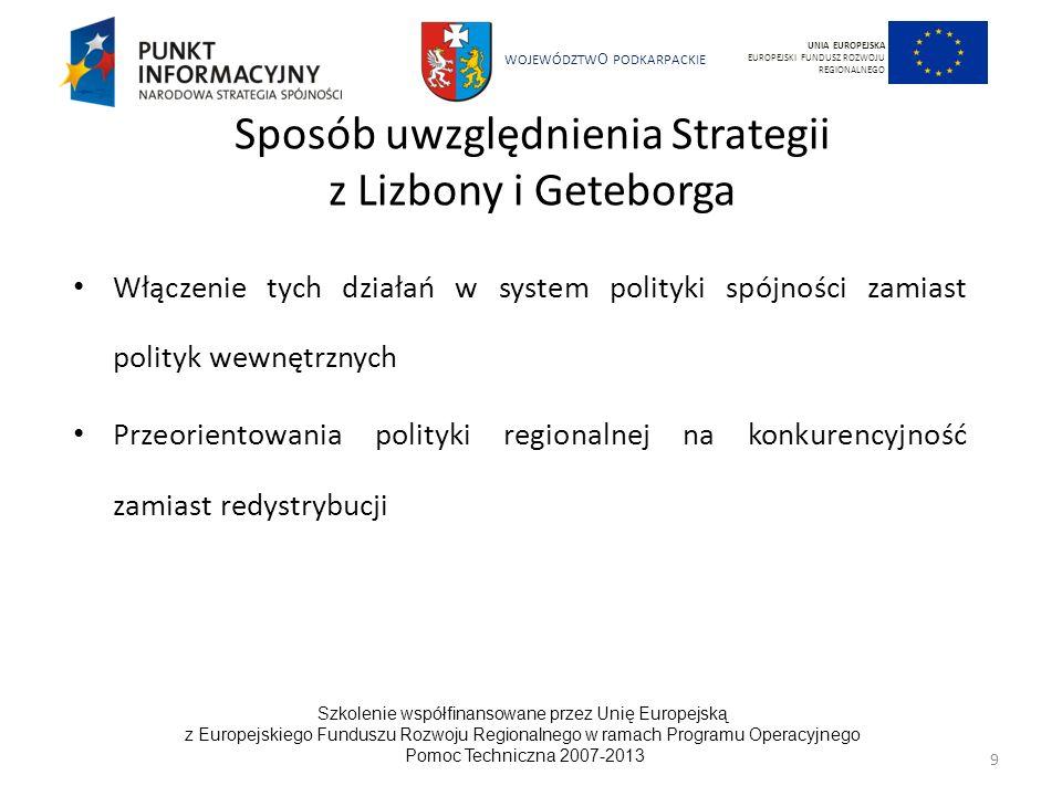 Sposób uwzględnienia Strategii z Lizbony i Geteborga