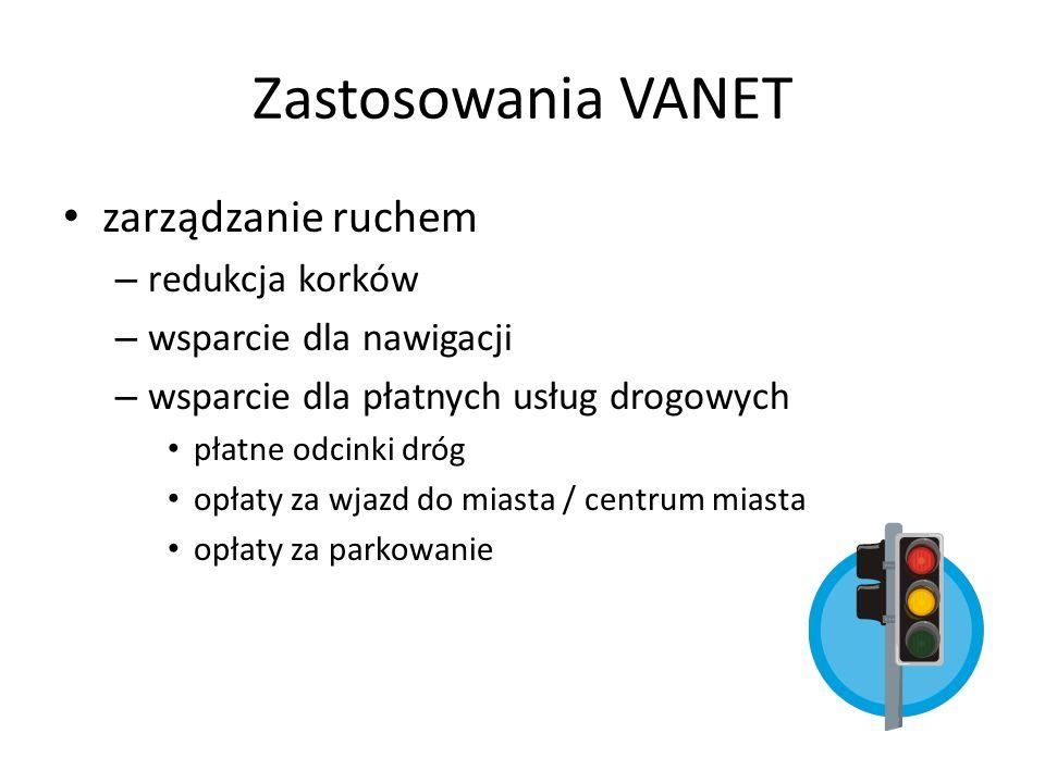 Zastosowania VANET zarządzanie ruchem redukcja korków