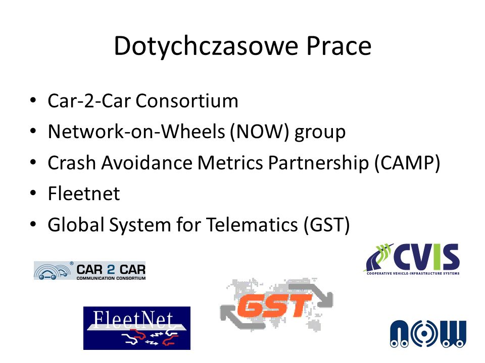 Dotychczasowe Prace Car-2-Car Consortium Network-on-Wheels (NOW) group