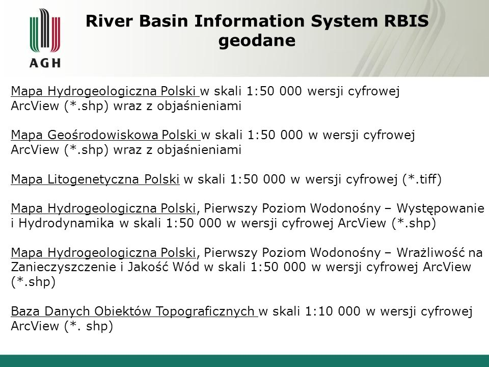 River Basin Information System RBIS geodane