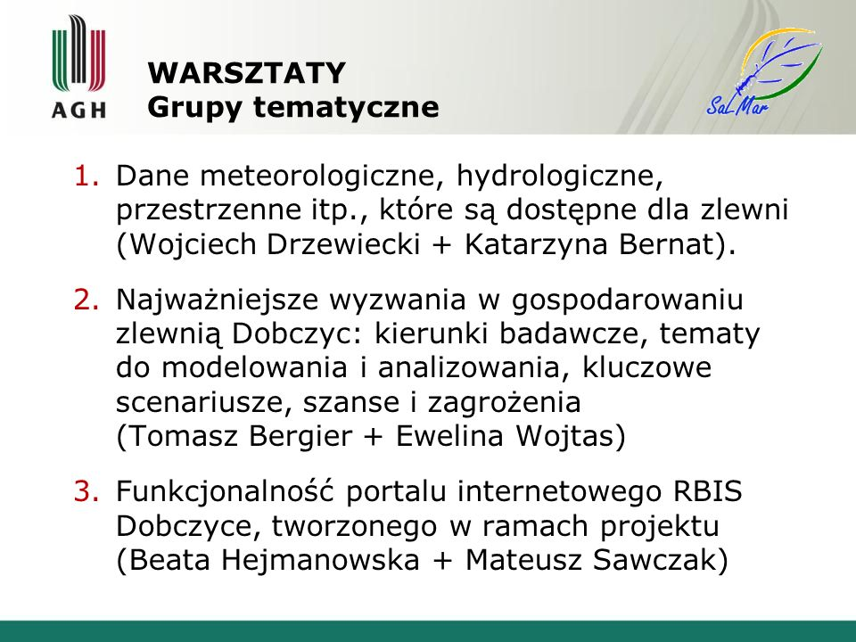 WARSZTATY Grupy tematyczne