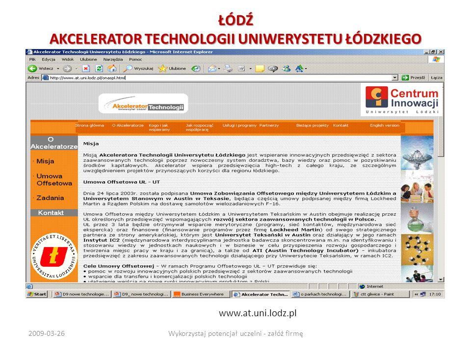 ŁÓDŹ AKCELERATOR TECHNOLOGII UNIWERYSTETU ŁÓDZKIEGO