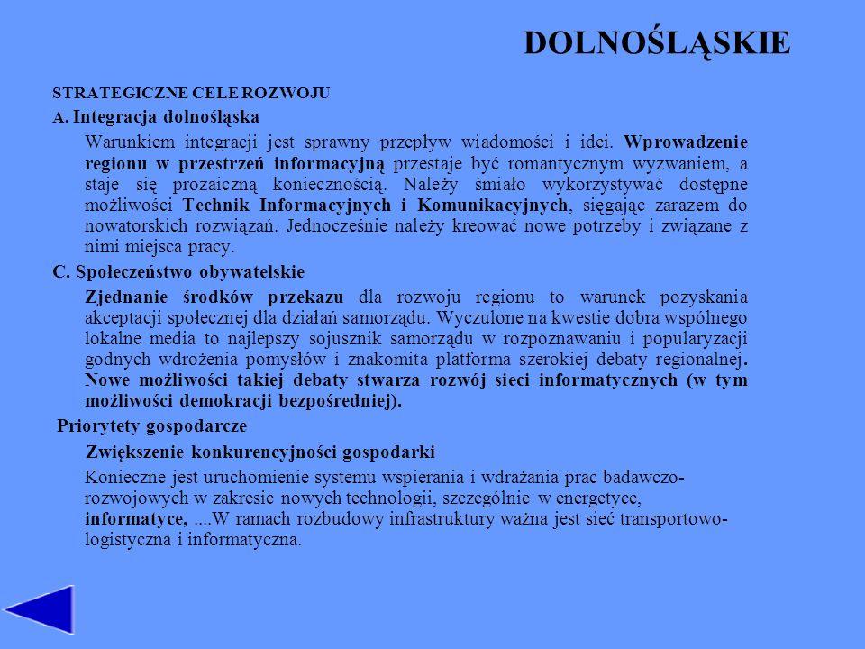 DOLNOŚLĄSKIE STRATEGICZNE CELE ROZWOJU. A. Integracja dolnośląska.