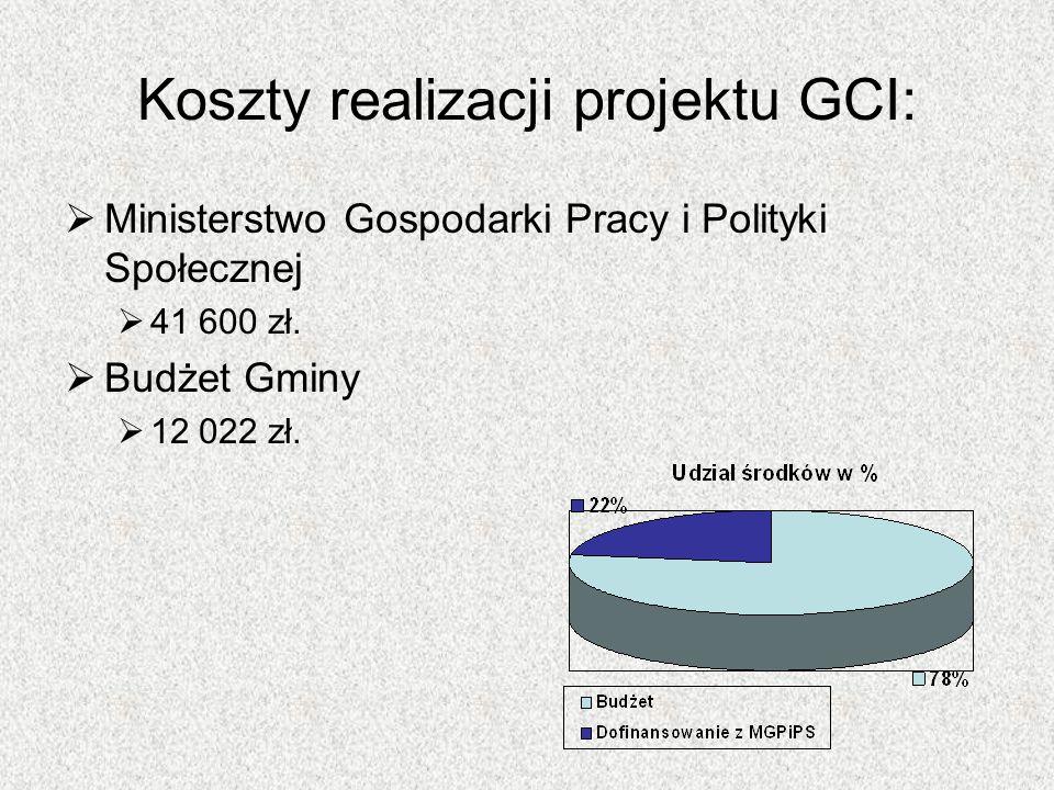 Koszty realizacji projektu GCI:
